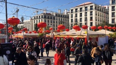 New Year China Celebration In City Square Stock Footage