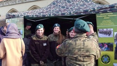KRAKOW, POLAND - Female Polish cadets and their commanders Stock Footage