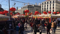 Chinese New Year Street Party Stock Footage