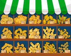 Market counter with italian macaroni or pasta Piirros