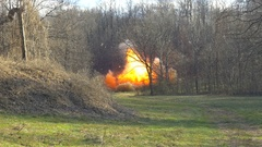 Large explosion in a field Stock Footage