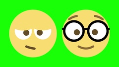 Two Emoji Animations for Sleepy and Nerdy Stock Footage