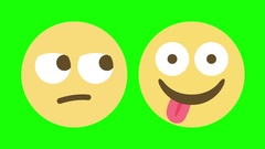 Two Emoji Animations for Indifferent and Hungry Stock Footage