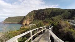Walking on Tasman Peninsula Boardwalk Stock Footage