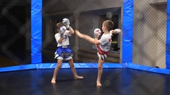 Mma kids train to hits Stock Footage