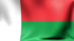 Madagascar Flag. Background Seamless Looping Animation. 4K High Definition Video Stock Footage