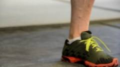 Chalked hands grabbing a kettlebell. Stock Footage