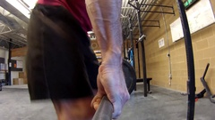 Deadlift exercises by middle aged athlete POV . Stock Footage