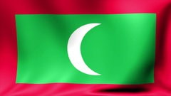 Maldives Flag. Background Seamless Looping Animation. 4K High Definition Video Stock Footage