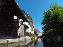 Colmar, Navigation on the boat in the canals of Little Venice. Stock Footage