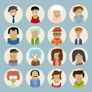 Set of people icons in flat style with faces. Vector men and women Stock Illustration