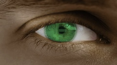 Close-up of eye with computer text overlayed. Zoom in centr. Swiss, Franc, CHF Stock Footage