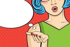 Pop art woman . Comic woman with speech bubble. Pin up girl. Stock Illustration