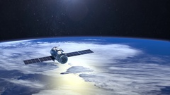 Satellite. The flight of the satellite over the Earth. The tracking camera. 4K Stock Footage