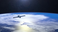 Satellite is orbiting the Earth. The satellite is flying at the camera from afar Stock Footage