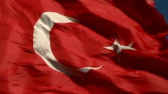 Turkish  Flag fluctuation Stock Footage