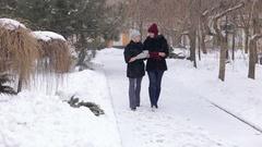 Two beautiful girls in black fur coat walk in the Park in winter. Stock Footage