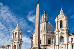 Egyptian obelisk and Church Sant Agnese Stock Photos