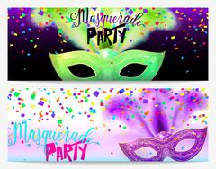 Vector illustration of two masquerade party flyer templates Stock Illustration