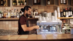 Man or waiter serving customer in coffee shop Stock Footage