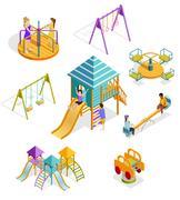 Isometric Swinging Kids Icon Set Stock Illustration