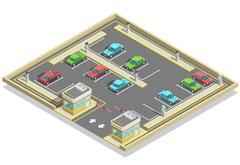 Parking Zone Isometric Location Stock Illustration