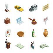 Auction Isometric Icon Set Piirros