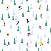 Ski Hill Seamless Pattern Stock Illustration