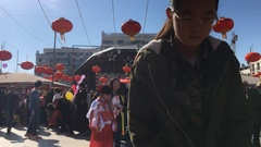 Chinese Girl In Crowd On Chinese New Year Event Stock Footage