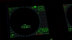 Instrument panel of ship in twilight, in lamplight. Close-up Stock Footage