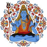 Indian god Shiva over ornate mandala background. Stock Illustration