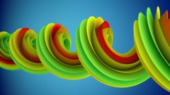 Colorful spiral curve rotates abstract 3D animation loopable 4k UHD (3840x2160) Stock Footage