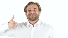 Thumbs Up by Man on white Background Stock Footage