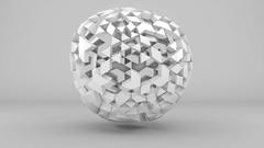 Grey low poly spherical shape displacing loopable 3D render 4k UHD (3840x2160) Stock Footage
