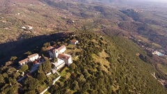 Aerial shot of beautiful little italian small village on the hill with.. Stock Footage