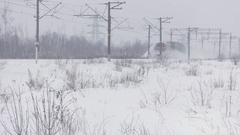 Train snow Blower cleans a railway Stock Footage