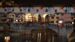 """Light Festival on old bridge """" Ponte Vecchio """" in Florence, Tuscany, Italy Stock Footage"""