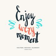 Enjoy every moment hand drawn lettering phrase. Stock Illustration