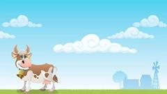 Cartoon cow grazing on meadow. Stock Footage