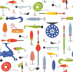 Vector seamless pattern with objects of fishing. Piirros