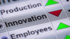 """Innovation"" on the screen. Looping. Stock Footage"