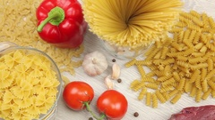 Pasta products, fresh meat and vegetables Stock Footage