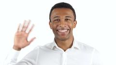 Hello Gesture by Black Man, Waving Hand Stock Footage
