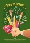 Big sale of stationery for school, and handmade Stock Illustration