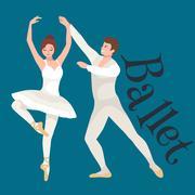 Young beautiful dancer girl and boy, couple man  woman dancing ballet, eleganc Piirros