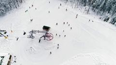 Aerial view of ski resort Stock Footage