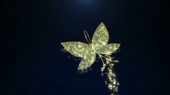 Golden jewelry butterfly with glittering stars pattern presentation title Stock Footage