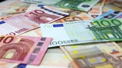 European banknotes euro on rotating surface background Stock Footage