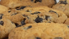 Biscuits with chocolate raisins Stock Footage