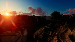 Aerial view of Great wall of China at sunset Stock Footage